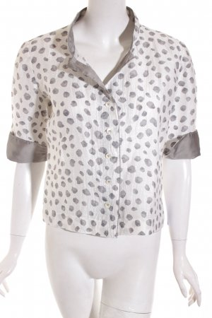 Irmgard Rinke Blusenjacke weiß-grau Punktemuster Elegant