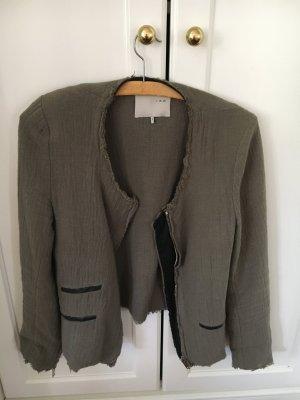 IRO Blazer Khaki mit Leder-Details