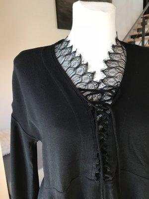 IRO Bluse Oberteil Tunika schwarz mit Schnürung und Spitze