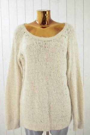 IRO Damen Pullover Ecru Grobstrick Alpaca Wolle Rundhals Langarm Gr.3/ 40