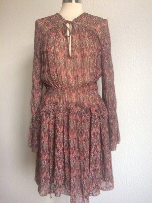 IRO Kleid Boho 100% Viskose gemustert rot beige schwarz Gr.36 FR/34 DE