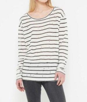 IRO Paris Sepia Shirt Langarmshirt Streifen Weiß Schwarz