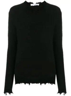 Iro Pullover Belma in Schwarz Rundhalspullover destroyed Sweater Merinowolle