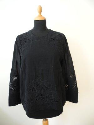 IRO schwarz Stickerei Baumwolle Leinen Langarm Reißverschluß 36 s NP 299,- edel Luxus Lochstickerei Stickerei