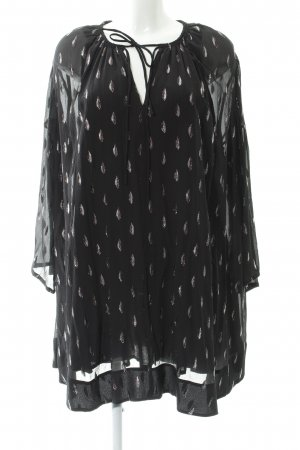 Iro Flounce Dress black-silver-colored abstract pattern Boho look