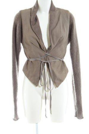 Isabel Benenato Strick Twin Set braun-wollweiß Business-Look