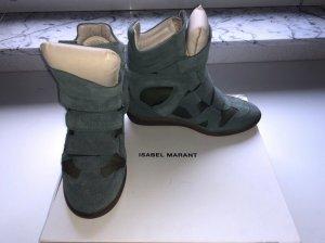 Isabel Marant Sneaker con tacco verde scuro-grigio-verde