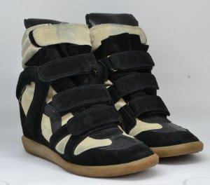 Isabel Marant Sneaker con tacco nero-beige chiaro Scamosciato