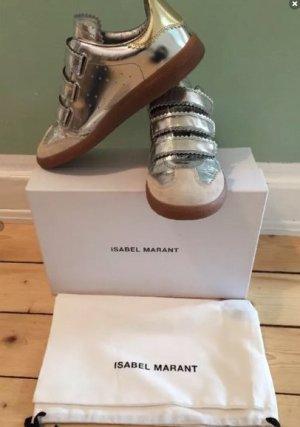 Isabel Marant Basket velcro doré-gris clair cuir