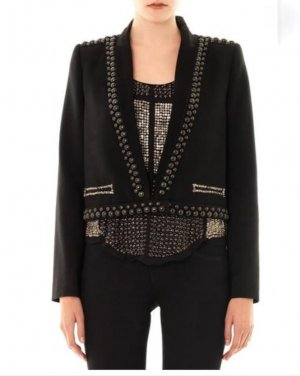 Isabel Marant Blazer Jacke 36 Schwarz Nieten Pailetten Studded Jacket Black XS