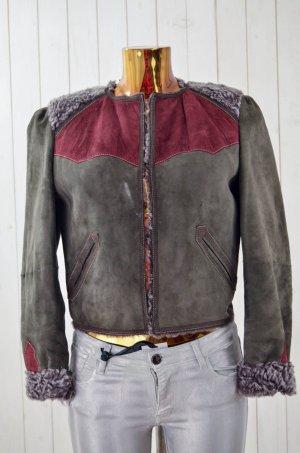 ISABEL MARANT Damen Lederjacke Mod.1501 Lammfell Grau Rot Gr.38