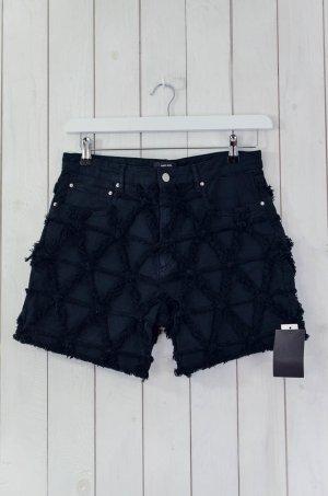 ISABEL MARANT Damen Shorts Jeans Shorts Schwarz Fransen Baumwolle Elastan Gr.38