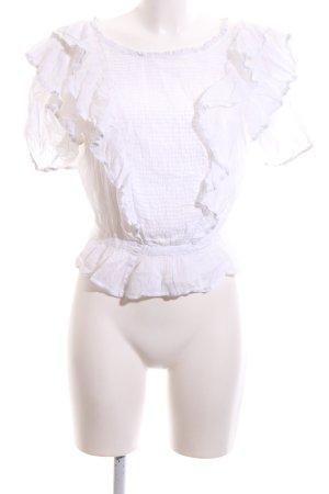 Isabel Marant Étoile Kurzarm-Bluse weiß Spitzen-Optik