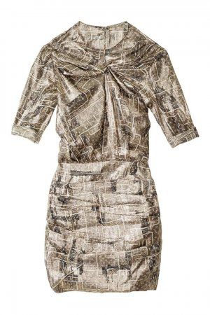 Isabel Marant for H&M Kleid Dress Seide Gold metallic gemustert Gr 42