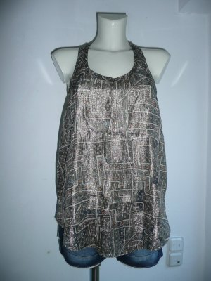 Isabel Marant for H&M lässiges Eyecatcher Top Tanktop mehrfarbig metallic Gr 38