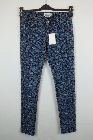 Isabel Marant Hose Jeans Slim leg Gr. 36 denim blue dunkelblau Blumen Stickerei Lochmuster NEU