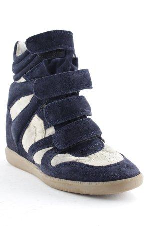 Isabel Marant Keil-Stiefeletten wollweiß-dunkelblau Stoffeinsätze