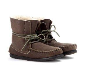 ISABEL MARANT Lammfell Stiefeletten 38 Khaki Braun EVE Mokassin Boots Brown NEU