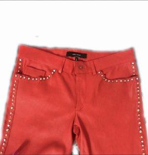 Stella McCartney Pantalón de cuero rojo Cuero
