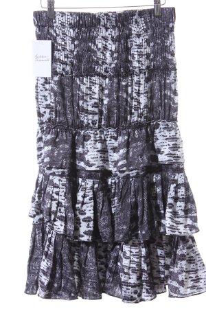 Isabel Marant pour H&M Midirock schwarz-weiß abstraktes Muster Lagen-Look