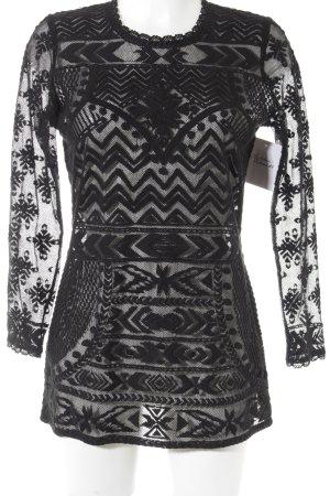 Isabel Marant pour H&M Netzshirt schwarz abstraktes Muster Spitzen-Optik
