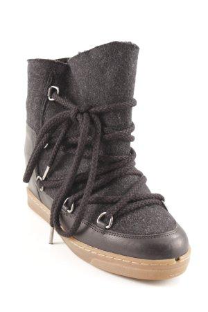 Isabel Marant Snowboots schwarz-dunkelgrau Street-Fashion-Look