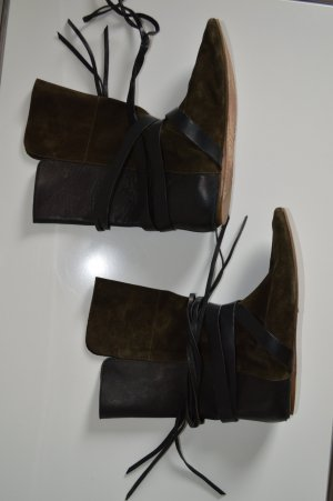 Isabel Marant Wide Calf Boots dark green leather