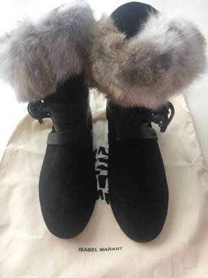 ISABEL MARANT STIEFEL NIA BLACK SHOW COUTURE SHOES REAL FUR