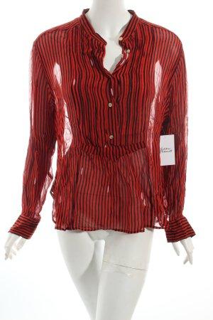 Isabel Marant Transparenz-Bluse schwarz-rot Streifenmuster Rockabilly-Look