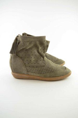 Isabel Marant Wedge Booties beige-grey brown leather