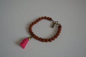 Isabel Marant wunderschönes Armband (Braune Perlen mit pinker Tassel), NP: 89€