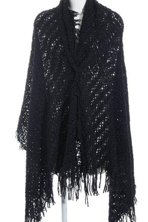 Ischiko Bufanda de lana negro Patrón de tejido look casual