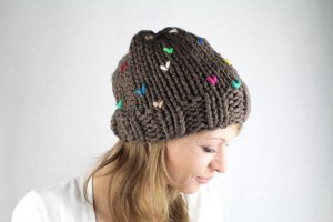 Beanie multicolored synthetic fibre