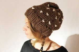 Knitted Hat brown-natural white synthetic fibre
