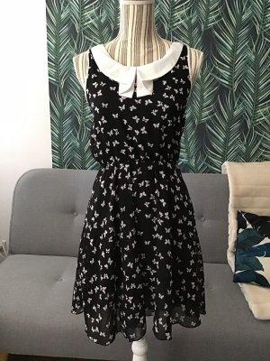 ISKA Kleid Sommerkleid Schmetterlinge Bubikragen Schwalbenkragen Muster