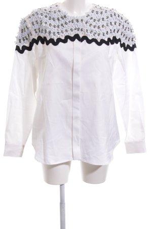 Issa Langarm-Bluse weiß-schwarz extravaganter Stil