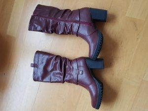 Winter Boots dark red-carmine imitation leather
