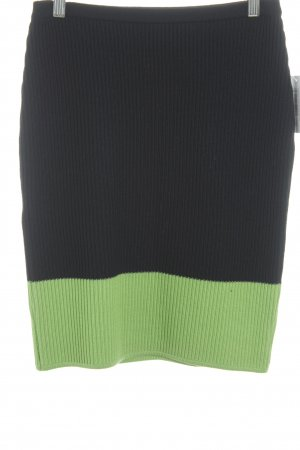 Istante by Gianni Versace Wool Skirt dark blue-neon green business style