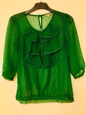 Herrlicher Ruche blouse bos Groen