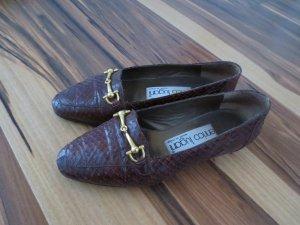 Ital. braune Schuhe, Gr. 36, Leder, mit goldener Spange, gepflegt