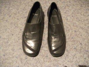 ital. Damen Leder Halbschuhe / Slipper, Gr. 37, grau, von nic Dean