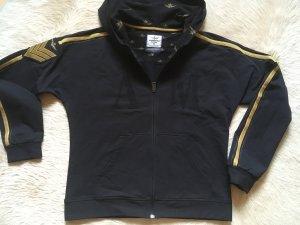 Aeronautica Militare Hooded Sweatshirt black-dark yellow cotton