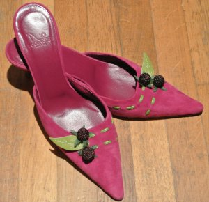 High-Heeled Sandals purple suede