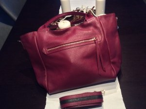 Carry Bag neon red-raspberry-red leather