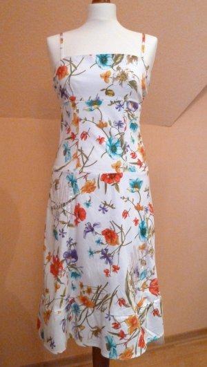 Ital. Spaghettiträger Kleid, weiß bunt geblümt, Petticoat, Gr. M, Top Zustand!