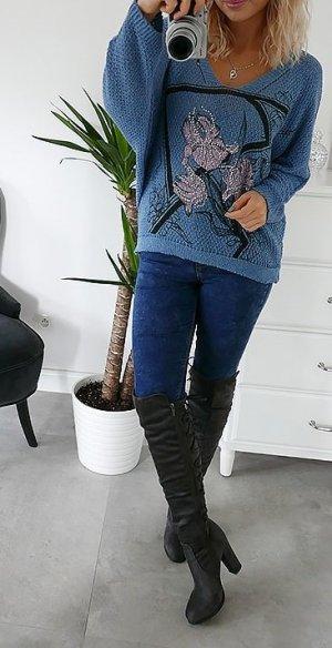 italenischer Pullover v neck mit 30% lana woll