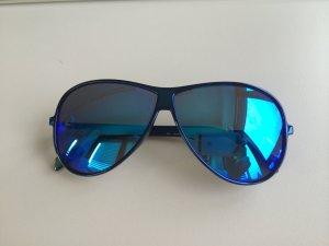 Italia Independent Pilotenbrillen in Blau Metallic Sonnenbrille verspiegelt