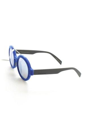 Italia independent runde Sonnenbrille blau-schwarz extravaganter Stil
