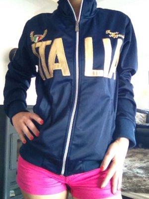 Italia Jacke Sportjacke Hoodie Gr. 36/S dunkelblau aus Italien