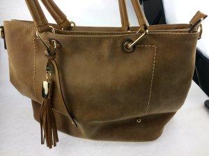 Italienische Damenhandtasche , rehbraun , Wildleder mit Gold